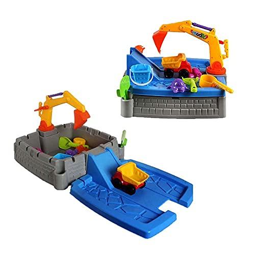 Chtom 2 in 1 Sand-und Wassertischaktivität Spielzentrum,Sandkasten Bagger Bagger Sommer Strand Spielzeug,Spritzwassertisch Sandkasten Aktivitätstabelle Set for Kinder
