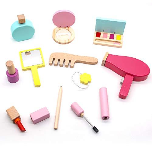 Kinderschminke Set Holzspielzeug Geschenke fürMädchen Kinder Schminkset Schminke Rollenspiel Kosmetik Schminksachen Täuschungsspielset Makeup Spielzeug für Prinzessin Kinderspielzeug ab 3 4 5 Jahren
