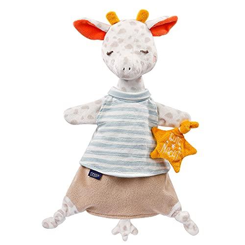 """Fehn 053098 Schmusetuch-Handpuppe Giraffe - Einschlafhilfe, Handpuppe & Stofftier-Schnuffeltuch mit """"Glow-in-the-dark"""" Bestickung zum Greifen & Knuddeln – für Babys und Kleinkinder ab 0+ Monaten"""