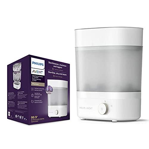 Philips Avent SCF293/00 Sterilisator für bis zu 6 Babyflaschen, Sauger und Zubehör, Vaporisator Baby mit modularem Design, Integrierte Trocknungsfunktion, weiß