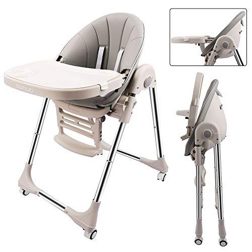 OUNUO Baby Hochstuhl Vertehllbar und Klappbar kinderhochstuhl mitwachsend Kindersitz Kinderstuhl mit Sicherheitsgurt 6 Monaten bis 6 Jahre PU Leder Kissen (Grau)