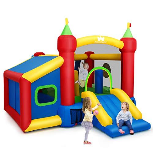 COSTWAY Hüpfburg aufblasbar, Springburg, Hüpfschloss mit Rutsche, Spielburg für Kinder 380 x 305 x 215cm, Bunt