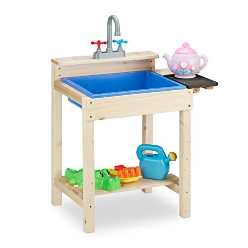 Relaxdays Matschküche, Outdoor, Spülbecken mit Wasserhahn, Kinder Sandspieltisch, Holz, HxBxT: 77 x 54 x 37 cm, natur