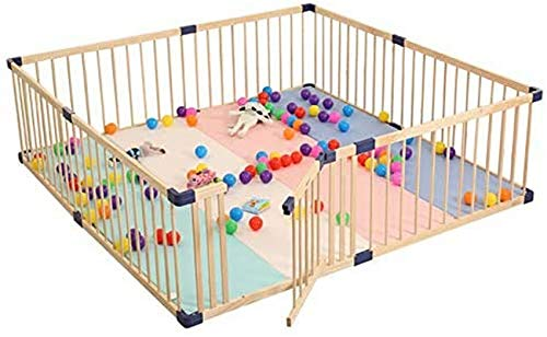 CCLLA Holzlaufstall für Babys und Kleinkinder, Baby-Sicherheitsschutzzaun für Innen und Außen mit Tür, Babyschutz-Spielstift, kann frei angepasst Werden - 110 * 160 cm
