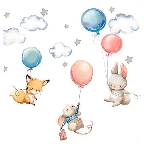 Little Deco Wandtattoo Babyzimmer Hase Fuchs und Maus I Wandbild S - 73 x 40 cm (BxH) I Luftballons Sterne Kinderbilder Junge Kinderzimmer Mädchen Aufkleber DL312