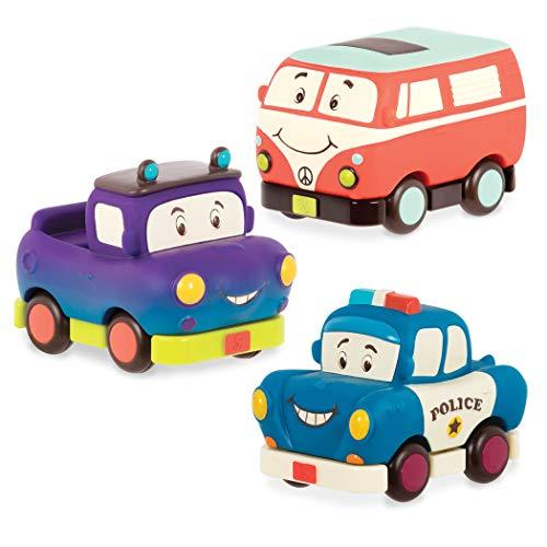 B. toys Weiche Spielzeug Autos zum Zurückziehen und Loslassen – Polizeiauto, Camper, Truck – Motorikspielzeug für Kinder ab 1 Jahr (3 Stück)