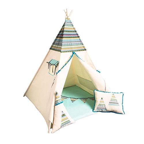 cozydots - Tipi Zelt für Kinder - Kinderzelt Zimmer Deko für Mädchen und Junge - Spielzelt mit Bodenmatte, Kissen und Girlande - Indian