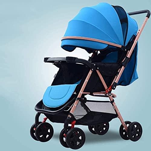 Tragbarer, leichter Baby-Kinderwagen mit geringem Gewicht und faltbarem Trolley-Design, die hohe Landschaft kann auf dem Licht sitzen und liegen, faltbarer Kinder-Kinderwagen (Farbe: Blau).