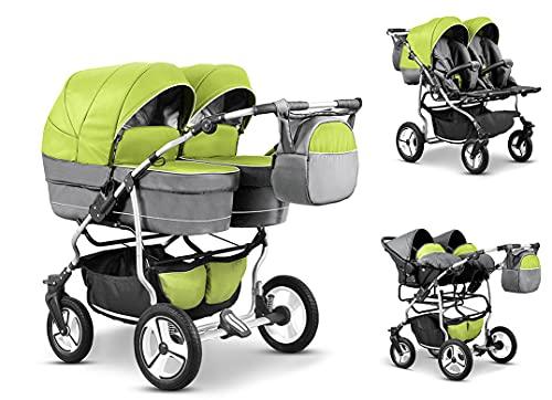 Zwillingskinderwagen Geschwisterwagen DUET LUX Komplettset 3 in 1 in 17 Farben