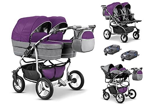 Zwillingskinderwagen Geschwisterwagen DUET LUX Komplettset 4 in 1 in 17 Farben