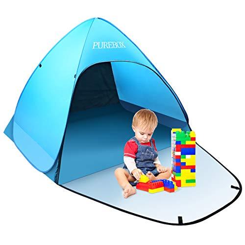 PUREBOX Strandmuschel groß Pop up Strandzelt Extra Leicht UV Schutz 50+ Sonnenschutz Tragbar Beach Zelt Belüftung Wasserdicht Outdoor Wurfzelt für 1-3 Personen mit erweiterter Veranda