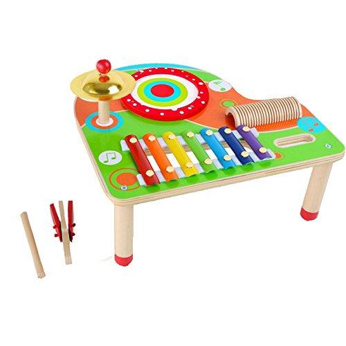 small foot 10042 Musiktisch aus Holz mit Xylophon, Ratsche, Schelle und Trommel