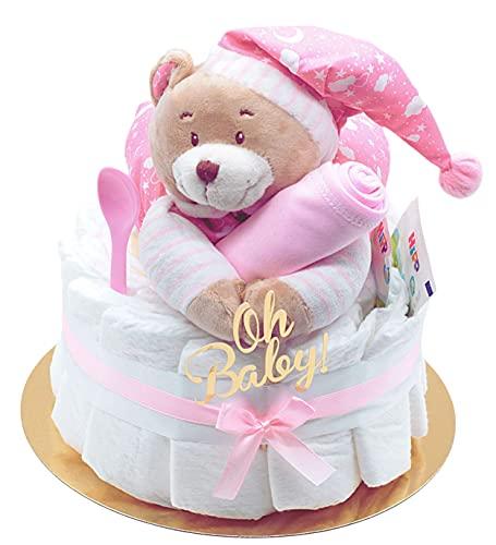 Trend Mama Windeltorte Mädchen -Traum in rosa- mit Spieluhr Bär-rosa Lätzchen handbedruckt mit Spruch 50% Mama 50% Papa 100% Perfekt