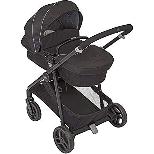 Graco Transform 2 in 1 Kinderwagenset Kombikinderwagen mit Babywanne und Buggy in einem klein zusammenklappbar mit Regenschutz und Fußsack 0-22 kg, Black