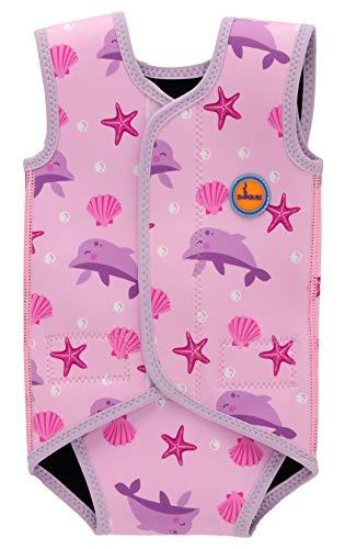 Swimbubs Baby Swimming Wrap Kleinkind Neoprenanzug Jungen Warmsuit Mädchen UV-Badeanzug (6-18 Monate, Pink Dolphin)