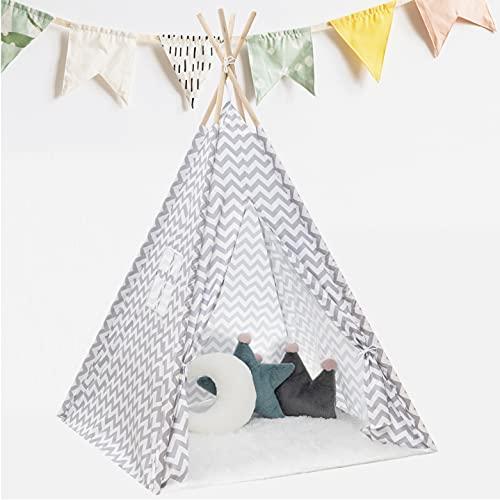 KNECKES Premium Tipi Zelt für Kinder (110 x 110 x 170cm / für 1-3 Kinder), deutsche Aufbauanleitung, inkl. Aufbewahrungstasche für innen und außen