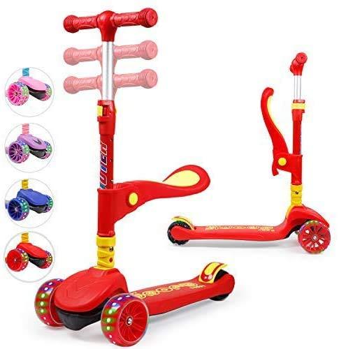 TX Kinderroller Scooter,Kinder Roller mit Abnehmbarem Sitz und PU LED große Leuchtenden Räder, 3 Höhenverstellbarer und Falten Lenker Kinderscooter für Kinder ab 2-10 Jahre-Rot