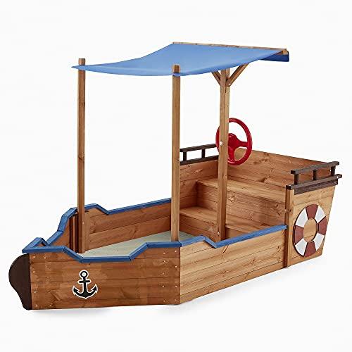 Home Deluxe - Sandkasten Matschekiste - Segelschiff inkl. Bodenplane - Maße: 160 x 78 x 103 cm - inkl. komplettem Montagematerial | Holzsandkasten Piratenboot Sandbox