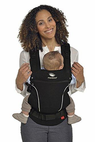 manduca First Babytrage  PureCotton Night Black  Ergonomische Babytrage I Bio-Baumwolle I Neues Stoff-Finishing (Soft & Fusselfrei) Bauch- Hüft- und Rückentrage für Kinder bis 20kg, schwarz
