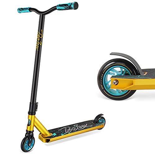 BELEEV Stunt Scooter Kinder, Freestyle Pro Trick Roller für Erwachsene, Kick Scooter mit Fixed Bar, 100mm Aluminium Core Wheels und ABEC-9 Kugellagern Funscooter für Anfänger (Teal)