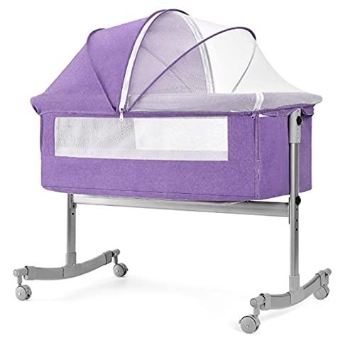 TXTC Babybett, Leichter Nachttisch-Beistellbett Mit Rädern, Beistellbett Baby, Einstellbar Und Leicht Zu Montieren Nachtkrippen Für Babys (Color : Purple)