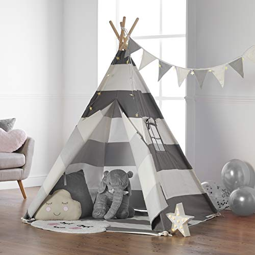 Haus Projekt Tipi-Zelt für Kinder mit Lichterkette, Wimpelkette, Aufbewahrungstasche & Bodenmatte – Tipi Kinderzelt, Kinderzimmer Spielzelt 100% Baumwoll, drinnen/draußen, 160cm hoch, CE-Zertifiziert