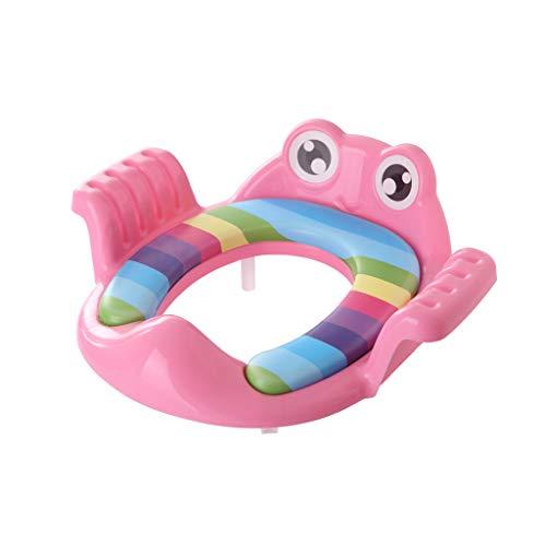 Looekveoyi Toilettensitz für Kinder, Cartoon-Frosch, Toilettensitz, Toilettentrainer, Töpfchen, Tritthocker, verstellbare Leiter Gr. Einheitsgröße, Rose