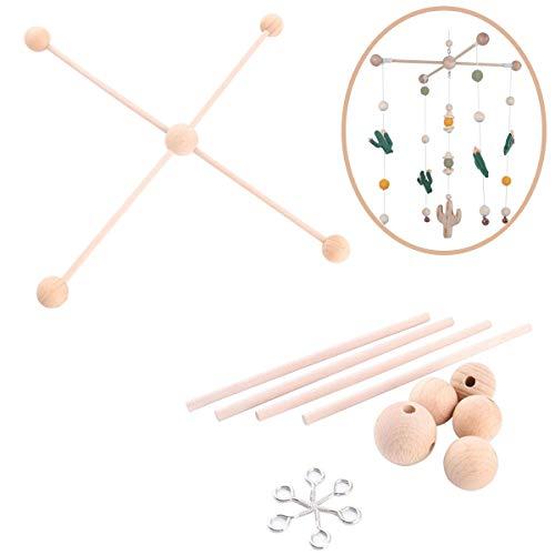 let's make Baby Natürlich aus Holz Mobile Kleiderbügel, Mobiles Kit Krippe,Mobile Hängenden Rahmen Bett Dekoration Spielzeug