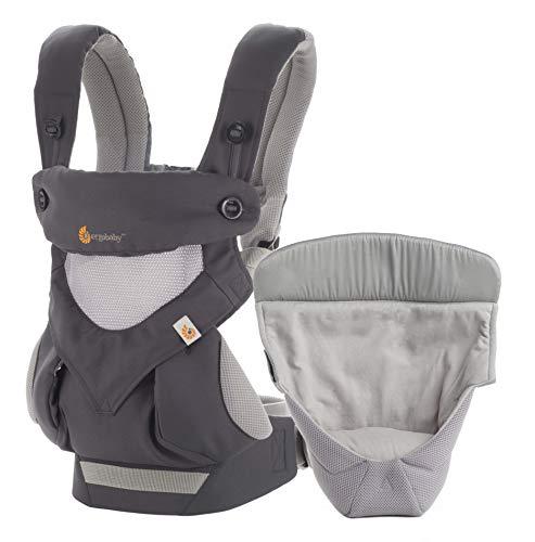 Ergobaby Babytrage 360 Cool Air Carbon Grey inkl. Neugeboreneneinsatz, 4in1 Baby Tragehilfe Rückentrage Bauchtrage