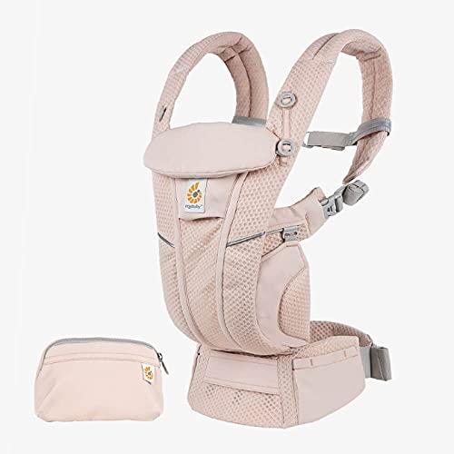Ergobaby Omni Breeze Babytrage für Neugeborene ab Geburt bis 20kg, 4 Positionen SoftFlex Mesh Ergonomische Babybauchtrage Rückentrage Baby-Tragetasche (Pink Quartz)