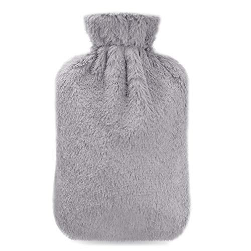 Wärmflasche, opamoo Wärmflaschen 2 Liter mit Super Weichem Langlebig und Sicher Hot Water Bottle Bietet Warme und Komfort Bettflasche für Bauch Rücken und Nacken - Grau