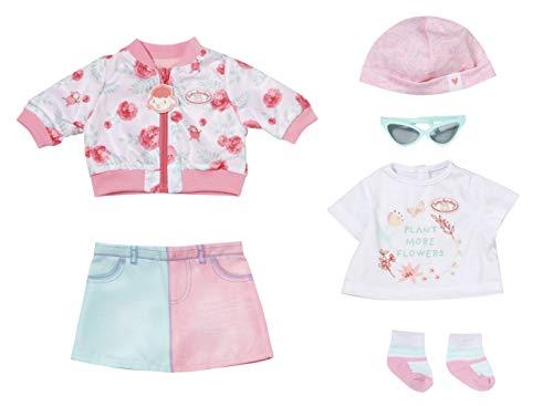Zapf Creation 705957 Baby Annabell Deluxe Frühling 43 cm - Puppenkleidung Set bestehend aus rosa Puppenjacke, Rock, Mütze, weißem Shirt, Sonnenbrille und Socken