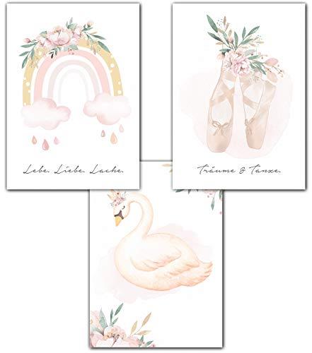 Lemmami Papeterie 3er Set Wandbilder Kinderzimmer Babyzimmer Poster Bilder DIN A4 Mädchen Jungen Deko Dekoration Schwan Regenbogen Ballerina (3er Bilder Set Rosa, Pastell, Wanddeko)