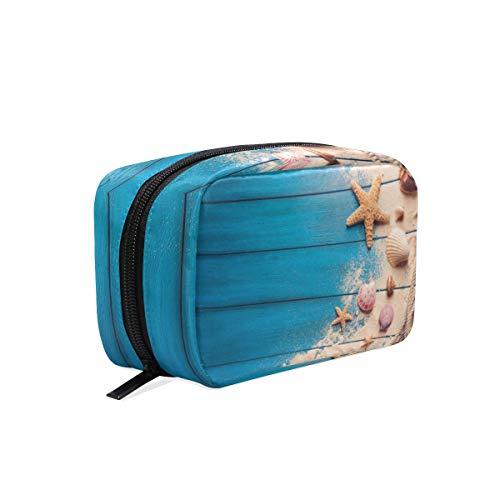 LIUBT Kosmetiktasche für Damen, Sommer, Strand, Holz, Sandmuschel, Seestern, Kulturbeutel, Reisen, Make-up-Tasche, Multifunktions-Organizer für Frauen