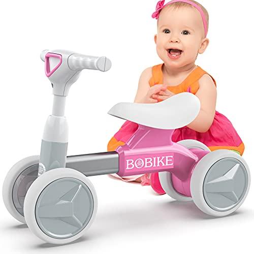 Kinder Laufrad ab 1 Jahr Spielzeug Lauflernrad ohne Pedale mit 4 Räder für 12-36 Monate Baby, Erst Rutschrad Fahrrad für Jungen Mädchen als Geschenke, Rosa