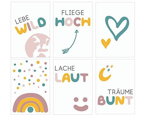 Fabelhafte Dinge Bilder-Set A5 Poster Kinderzimmer Babyzimmer Wandbilder für Jungen und Mädchen Sprüche und Motive bunt Wanddeko (deutsch 6)