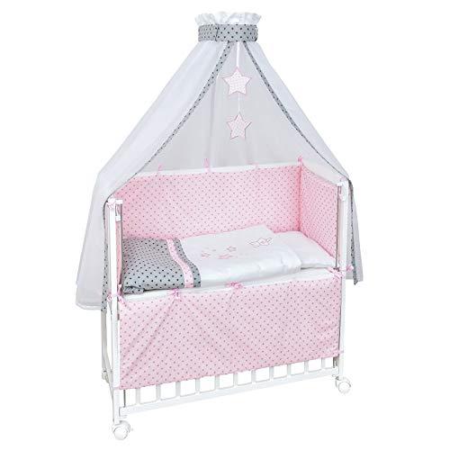 Baby Delux Beistellbett Magic Stars rosa Stubenwagen mobil Babybett Holz weiß 90x40cm inkl. Matratze und Komplett Bettset mit Stickerei