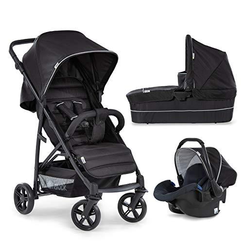 Hauck Kombi Kinderwagen Rapid 4 Plus Trio Set / für Babys ab Geburt / Wanne inkl. Matratze / Reise System mit Autositz / Liegeposition / Schnell Faltbar / Höhenverstellbar / Bis 25 kg / Schwarz