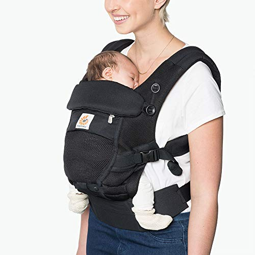 Ergobaby Babytrage für Neugeborene ab Geburt, 3in1 Adapt Cool Air Mesh Babybauchtrage Rückentrage, Onyx Black, BCPEAPBLK