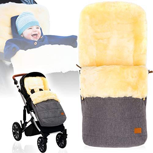 Winterfußsack/Fußsack (100% ECHTES LAMMFELL) für Kinderwagen/Buggy/Jogger Kinderwagenfußsack (HELLGRAU MELANGE)