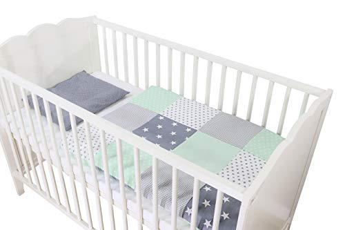 ULLENBOOM ® Babybettwäsche 80x80 cm Mint Grau - 2 Teile (komplett): Baby Bettwäsche 80x80 cm & Kissenbezug 35x40 cm, Baby Bettset für das Babybett aus 100% Baumwolle