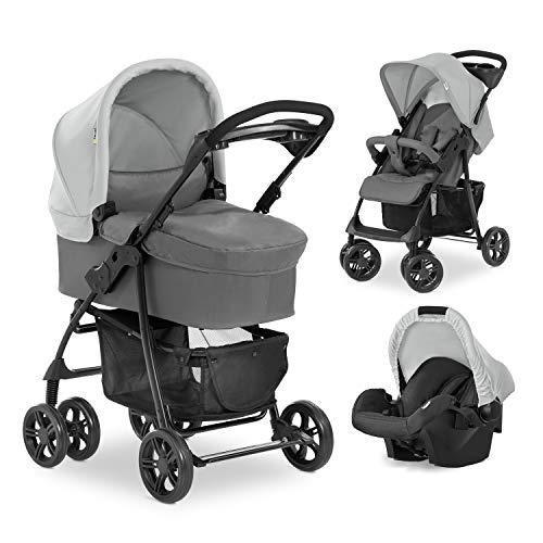 Hauck Kombi Kinderwagen Shopper Trio Set / inkl. Baby Wanne mit Matratze / Reise System mit Autositz / Buggy mit Liegefunktion / bis 25 kg / Getränke Halter / Kompakt Faltbar / Grau