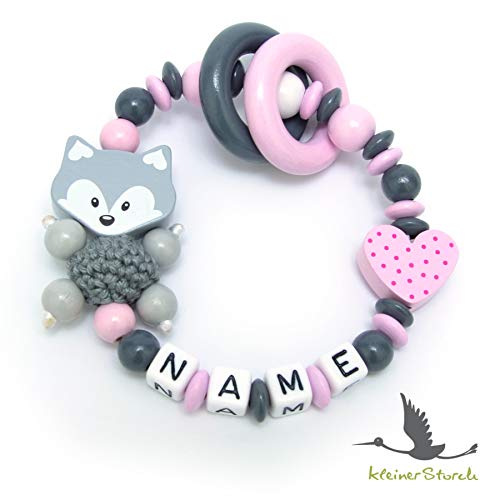 Baby Greifling Beißring geschlossen mit Namen - individuelles Holz Lernspielzeug als Geschenk zur Geburt Taufe - Mädchen Motiv Fuchs und Herz in rosa