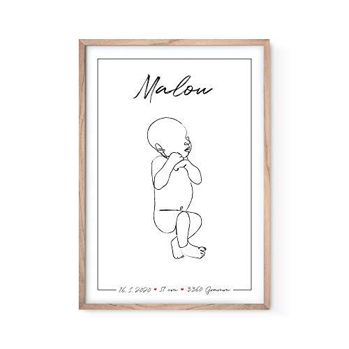 Bold Design Personalisiertes Geburtsposter Lineart mit Geburtsdaten, Name, Größe und Gewicht - Originelles und individuelles Geschenk zur Geburt oder Taufe - Babyandenken mit hochwertigem Rahmen