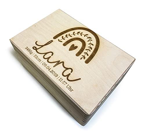 DRYSSON Erinnerungsbox Erinnerungs Kiste Box für Baby Babys Kind personalisiert Geschenk zur Geburt Mutter Vater Geburtsbox
