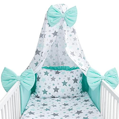 Amilian Baby Bettwäsche 7tlg Set mit Nestchen Kinderbettwäsche 100x135 Himmel Betthimmel Kinder Bettwäsche Babybettwäsche für Baby Sternschnuppe Türkis Mint (Vollstoffhimmel)