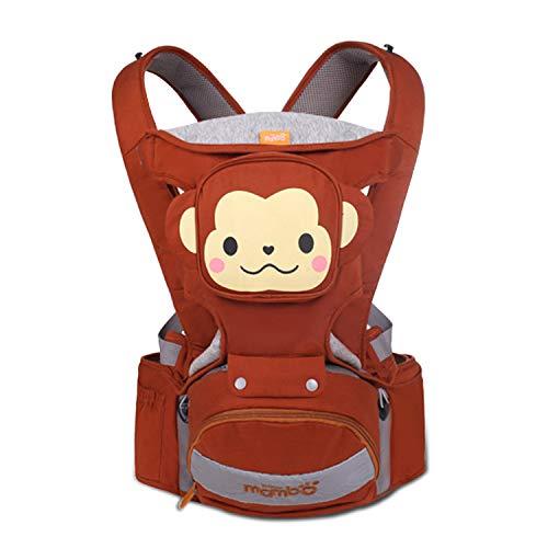 SONARIN 4 in 1 Multifunktions Karikatur Hipseat Baby Carrier,Babytrage,Ergonomisch,Atmungsaktiv,100% Baumwolle,Eine Grösse passt allen,Angepasst an Ihr Kind wachsende,Ideal Geschenk(Braun)