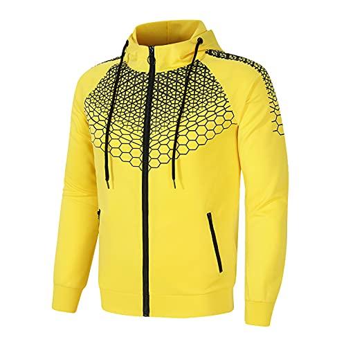 SSBZYES Herren Pullover Herren Jacke Hoodie Sportswear Jacke Herren Reißverschluss Kapuzenjacke Wabenbedruckter Freizeitpullover