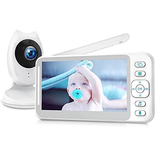 Babyphone mit Kamera, Video Baby Monitor mit 4,3'' Digital LCD Bildschirm, Smart Baby Überwachungskamera Zwei-Wege-Autio Wireless, VOX, IR Nachtsicht, 8 Schlaflieder, 300M Reichweite