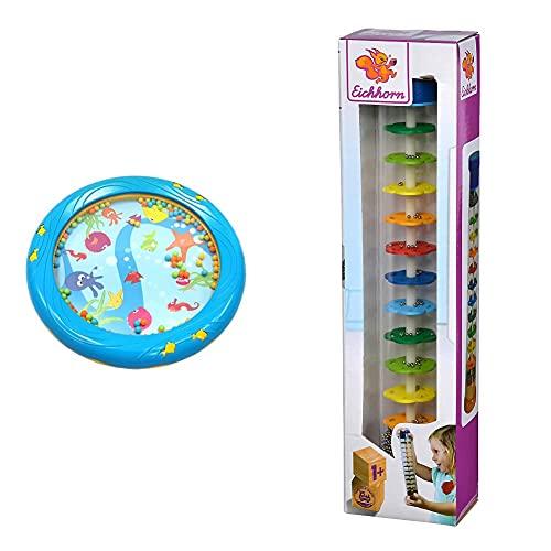 Musik für Kleine Meerestrommel Musikspielzeug für Kleinkinder und Babys ab 1 Jahr - 18 cm Durchmesser blau & Eichhorn - Regenmacher aus massivem Holz, Kunststoffrohr mit Metallkugeln, 32x5cm